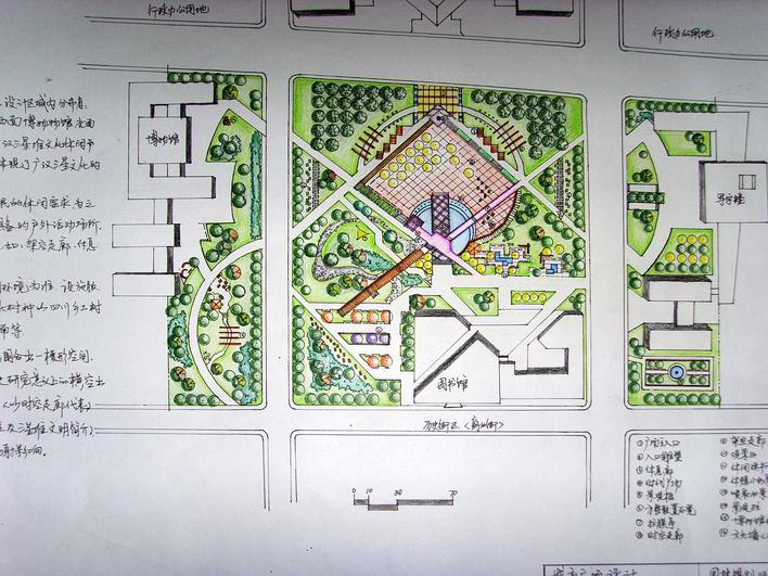 广场效果图手绘节点